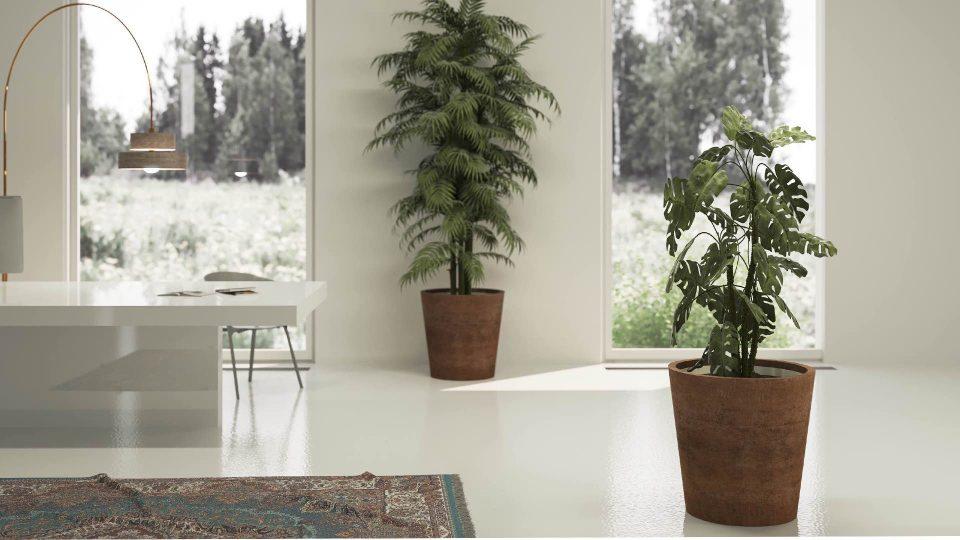 Donice-metalowe-corten-w-seria-vaso-w-pomieszczeniach